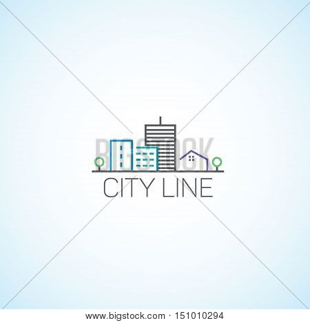 High-rise house on property vector, fully editable.