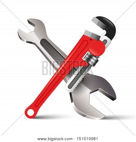 Pipe Wrench Key repair services icon isolated on white background