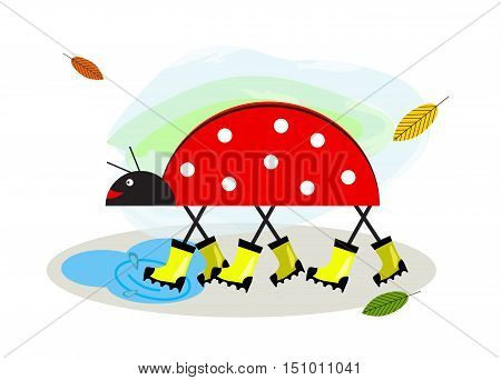 Rubber boots. Wellington rain boots for baby. Funny cartoon character ladybug goes through puddles in rubber boots and smiles. Stick animal. Logo Icon for children's shoe shops.