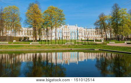 Catherine Palace in Tsarskoye Selo (Pushkin), built in 1756 in Baroque style by architect Rastrelli. Russia, Saint-Petersburg, Tsarskoye Selo. May 9, 2016