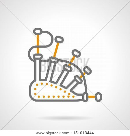 Abstract sign of bagpipe. Scottish traditional musical wind instrument. Music store, festivals and entertainment. Simple gray and yellow line style vector icon.