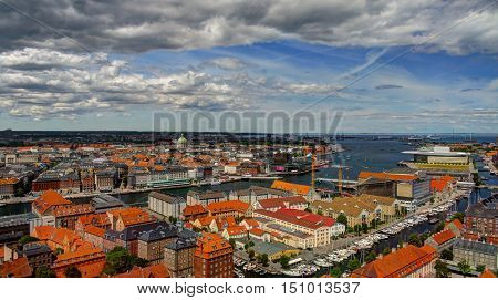 Panoramic aerial cityscape of Copenhagen city Denmark