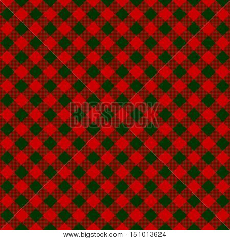 Red green check diagonal fabric texture seamless pattern. Vector illustration.