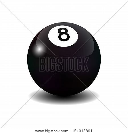 Vector realistic isolated billiard eight ball on white background.