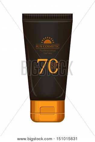 Sun cream professional series. Solar defence. Sun cosmetic. Brown and gold plastic tube for sun block, 70 SPF. Product for body and skin care, beauty, health, freshness, youth. Realistic illustration