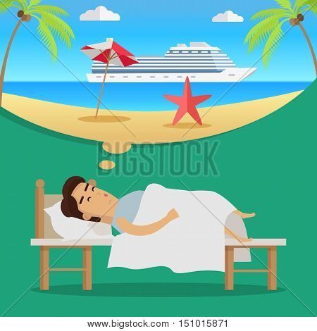 Young man in bed sleeping and dreaming about holidays and cruise tour. Summer beach vacation concept. Big cruise ship in sea. Summer travel. Vector illustration in flat design.