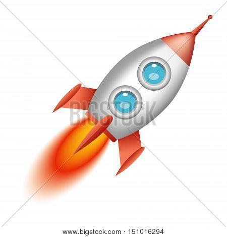Rocket cartoon flying isolated on white background. Vector illustration