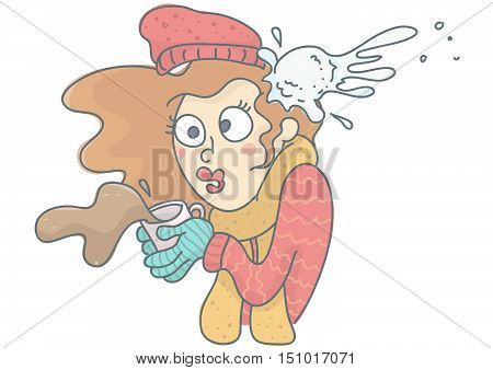 Funny vector cartoon of woman being hit by snowball. Woman in winter clothing with coffee cup spilling, shocked by snowball hit.