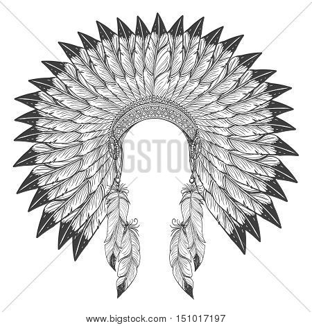 Native american indian headdress with feathers. Vector war bonnet headdress