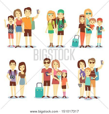 Happy couple, family, people, tourists vector travelling cartoon characters. Family holiday journey, mother father and children illustration
