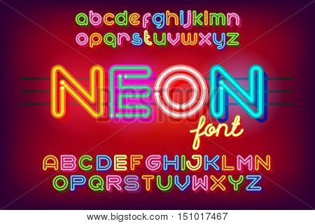 Neon Light Alphabet Vector Font. Color Neon tube letters on dark glow red background