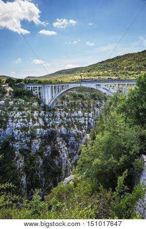 The largest alpine canyon Verdon. The white bridge over tributary of the river Verdon Artuby. Verdon, Provence, France