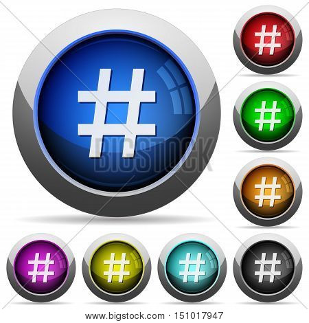 Set of round glossy hash tag buttons. Arranged layer structure.