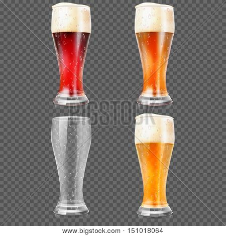 Beer glasses with light lager beer, dark beer, amber beer and empty mug vector illustration