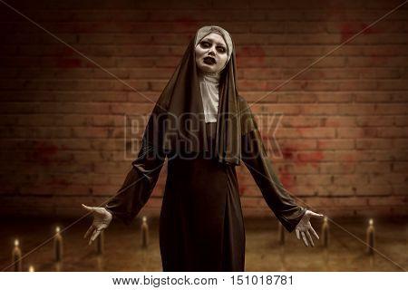 Awful Asian Nun Woman Begin Ritual Inside A Candle Circle