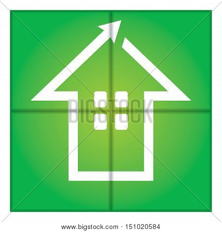 Green house sign - abstract illustration with background