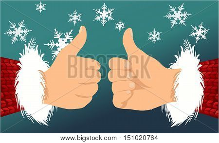 Santa Claus hand showing thumbs up - vector illustration