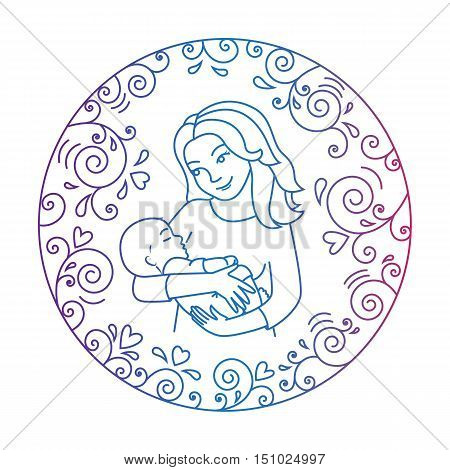 Colored motherly love concept isolated on a white background. Mother holding baby in her arms inside round frame with hearts and whorls. Mother and baby.Vector illustration.Easy to change color