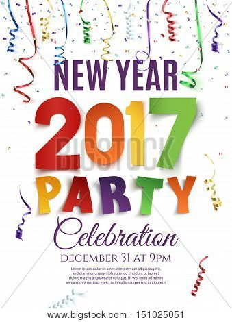 New Year 2017 party poster template with confetti and colorful ribbons on white background. Vector illustration.