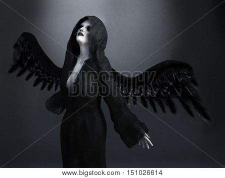 An angel of death with its black wings spread 3D rendering. Dark background.