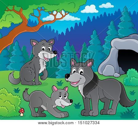 Wolves theme image 1 - eps10 vector illustration.