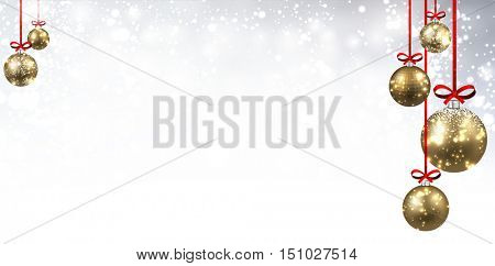 New Year shining background with golden Christmas balls. Vector illustration.
