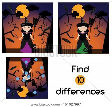 Find the differences educational children game with answer. Kids activity sheet with halloween witch character