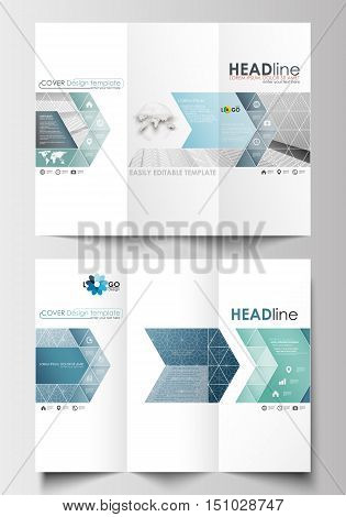 Tri-fold brochure business templates on both sides. Easy editable abstract layout in flat design. Abstract blue or gray business pattern with lines, modern stylish vector texture.