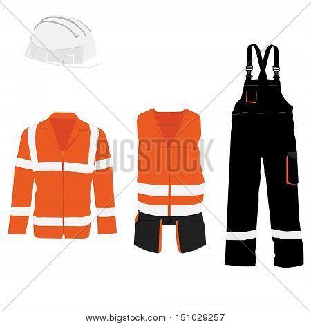 Orange safety jacket. Worker clothing. Safety clothing. Protective worker jacket with reflective stripes