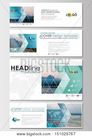 Social media and email headers set, modern banners. Business templates. Cover design template, easy editable, abstract flat layout in popular sizes, vector illustration.