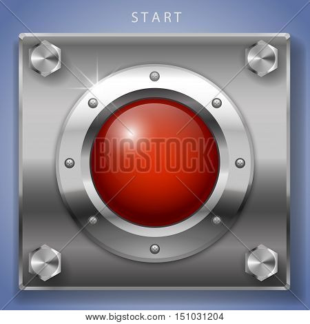 Big red round button ignition turn on or start. Vector graphics