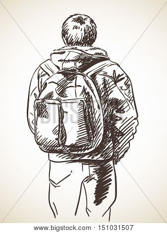 Sketch of man standing with backpack, Hand drawn illustration back view