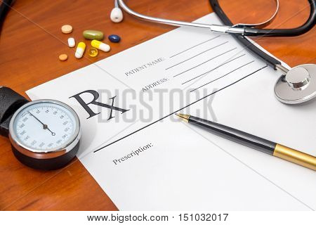 RX Blank prescription stethoscope drug and pen