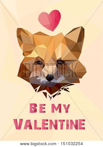 Valentine's Day card, vector illustration fox, low poly