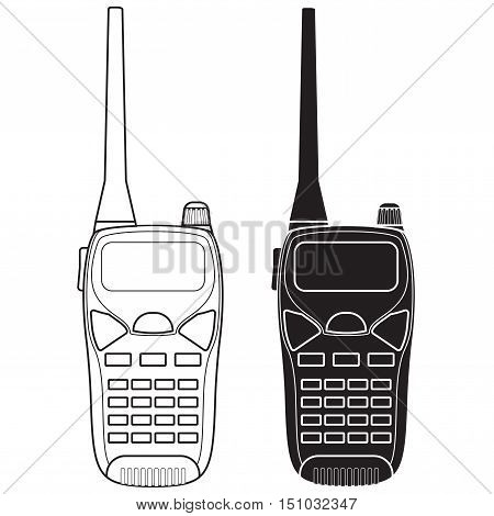 Radio transceiver. Black and white icon. Vector illustration on white background