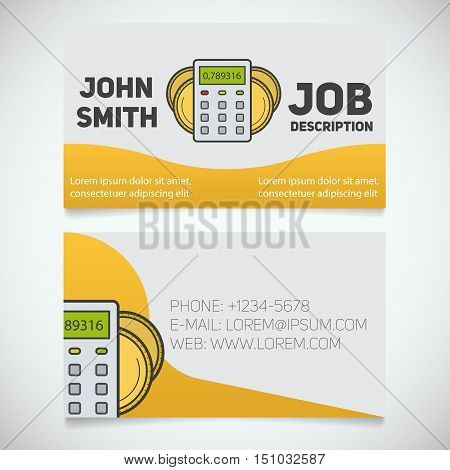 Business card print template with calculator and coins logo. Easy edit. Accountant. Bank worker. Stationery design concept. Vector illustration
