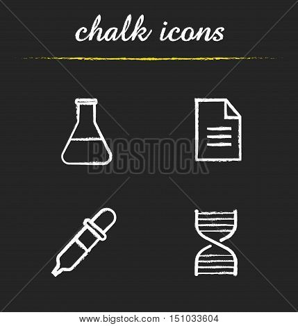 Chemical laboratory chalk icons set. Beaker with liquid, lab test paper, pipette, dna spiral illustrations. Isolated vector. Science chalkboard drawings