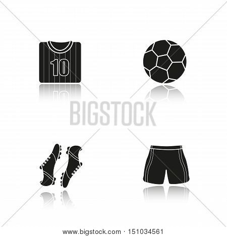Soccer drop shadow black icons set. Football shirt, boots and shorts, ball. Soccer player's uniform. Isolated vector illustrations