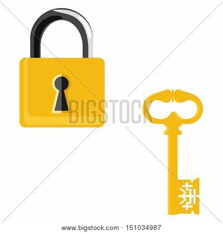 Vector illustration closed golden lock and vintage key isolated on white background. Lock key icon set collection. Padlock