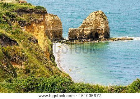 Pointe du Hoc coastline at English Channel, Normandy, France