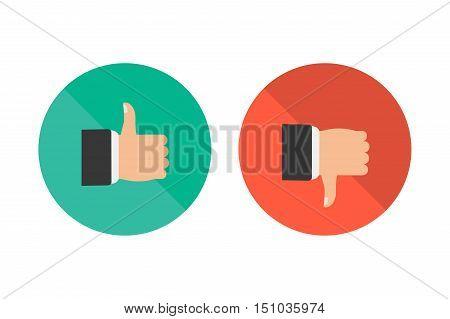 Like and dislike icon flat design. Vector illustration