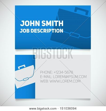 Business card print template with briefcase logo. Easy edit. Work management. Businessman. Advocate and lawyer stationery design concept. Vector illustration