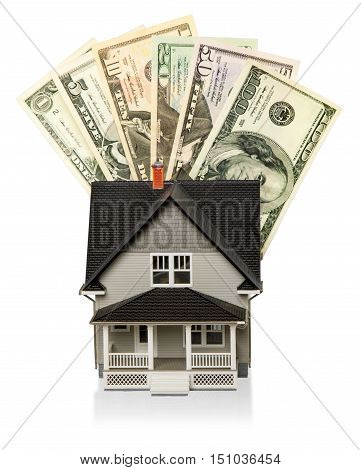 Model of a House with Money - Isolated