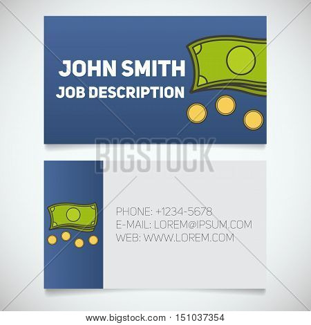 Business card print template with cash and coins logo. Easy edit. Manager. Seller. Accountant. Stationery design concept. Vector illustration