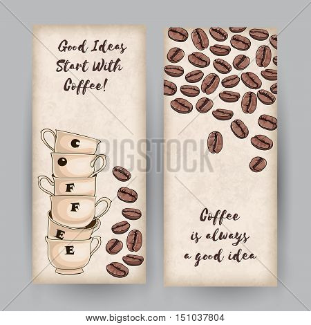 Set of two vertical banners with coffee cups and beans. Place for your text. Thematic Quotes. Coffee Shop Template.
