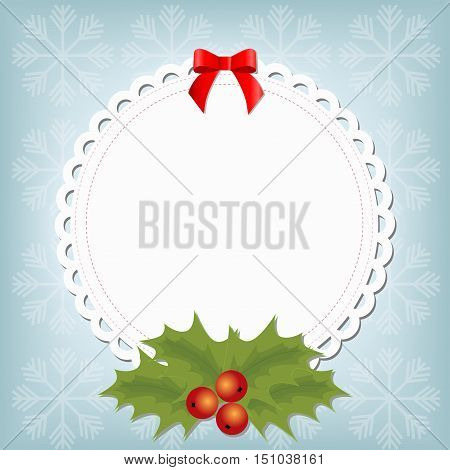 white Christmas frame in the form of napkins with Christmas flower and red bow on a blue winter background with snowflakes. template postcard greeting. new year vector illustration