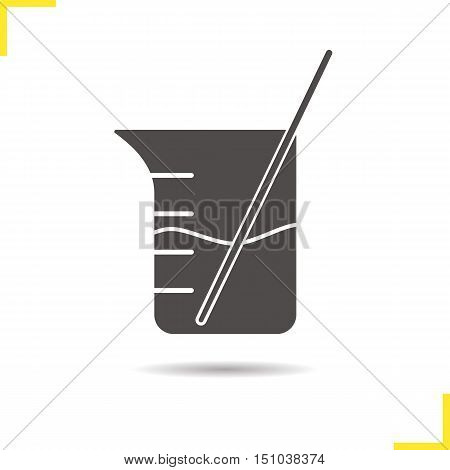 Beaker with glass rod and liquid icon. Chemistry experiment. Drop shadow silhouette symbol. Negative space. Vector isolated illustration