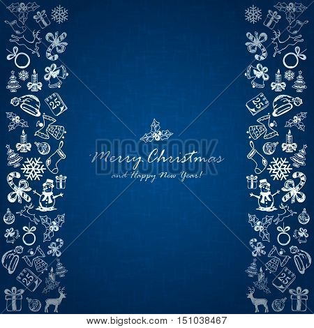 Silver Christmas elements on blue background, holiday decorations with Christmas icons, illustration.