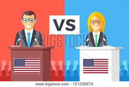 Presidential debates. Candidates at rostrums with United States flags. People silhouettes behind. Man and woman discussing politics. USA presidential elections concept. Flat design vector illustration poster