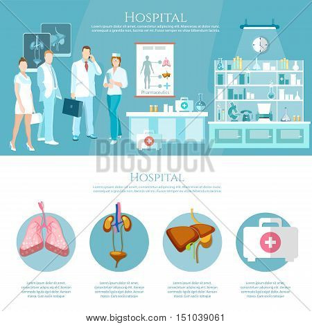 Medicine infographics hospital staff health service surgery operation room human organs operating transplantation vector illustration